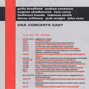 JOHN ZORN - USA Concerts East (with Polly Bradfield, Andrea Centazzo, Eugene Chadbourne, Tom Corra, Toshinori Kondo, LaDonna Smith, Davey Williams & Jack Wright) cover