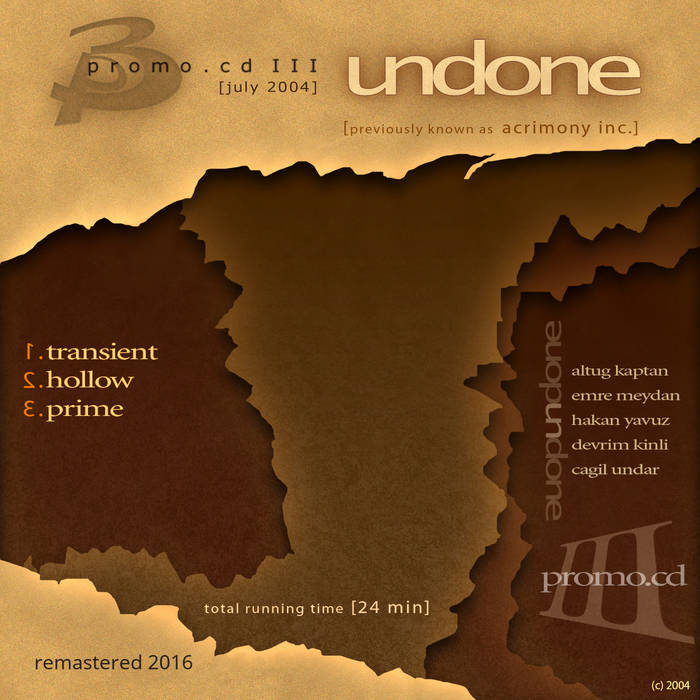 UNDONE - Promo CD III cover